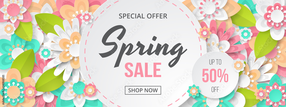Fototapeta Spring sale banner with beautiful colorful flower. Can be used for template, banners, wallpaper, flyers, invitation, posters, brochure, voucher discount. Vector illustration