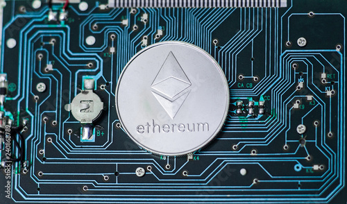 Magnificent Ethereum Physical Coin Symbol On Printed Circuit Board Concept Of Wiring 101 Swasaxxcnl