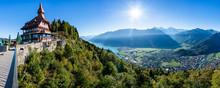 Switzerland, Canton Of Bern, Bern Alps, Interlaken, Lake Brienz, Restaurant On Harder Kulm