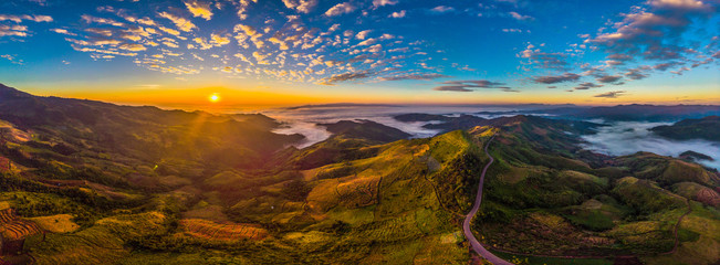 Beautiful panorama are view of mountain rang with hightway road at sunrise time.