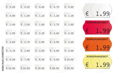 Fotomural selbstklebende Vektor Preisetiketten für den Supermarkt mit Sonderangebot