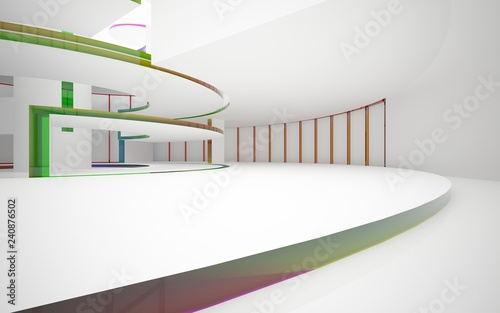 Fototapeta Abstract white and colored gradient glasses interior multilevel public space with window. 3D illustration and rendering. obraz na płótnie