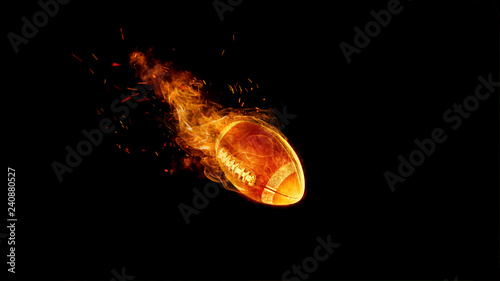 Fotomural American football ball in fire on black