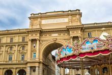 Arch On Piazza Della Repubblica (Republic Square) In Florence