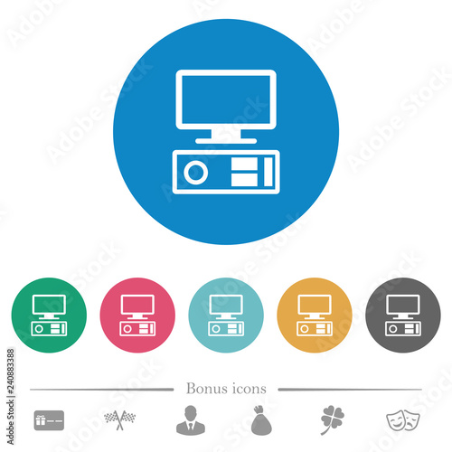 Fototapety, obrazy: Old personal computer flat round icons