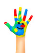 Child hands with finger paint