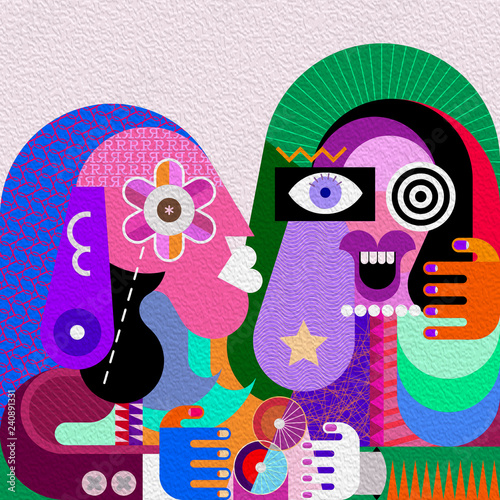 Funny girl and her serious friend graphic illustration. Contemporary fine art portrait of two women.