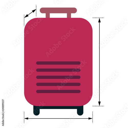 Fotografie, Tablou Red luggage with arrows showing dimensions