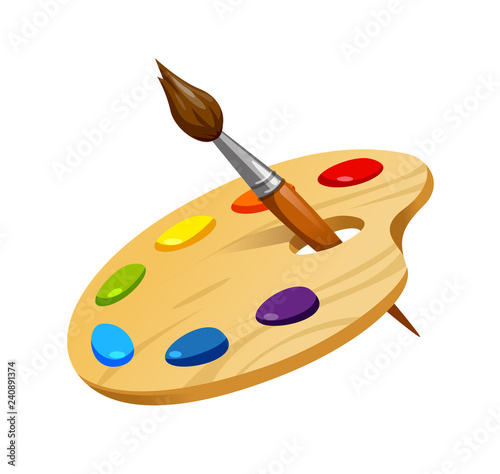 vector illustration of wooden artist palette with brush and paint Wall mural