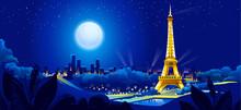 Vector Illustration Of Night View Of Paris