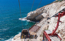View From The Cable Car Of The Entrance To The Rosh Hanikra Grottos Park On The Mediterranean In Northern Israel