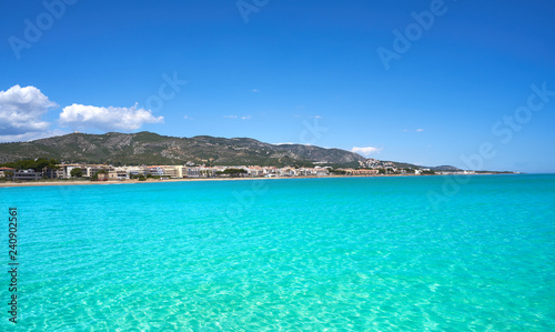 Photo Stands Turquoise Playa beach in Alcossebre also Alcoceber