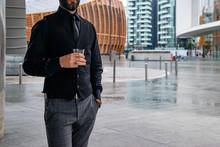 Man Drinking A Whiskey In Milan