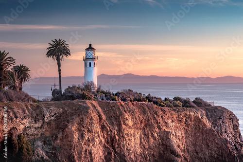 Plakat Piękny widok przybrzeżnych latarnia morska Point Vicente. Rancho Palos Verdes, Kalifornia o zachodzie słońca