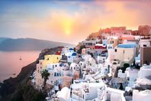 Beautiful Sunset In Oia, Santorini, Greece