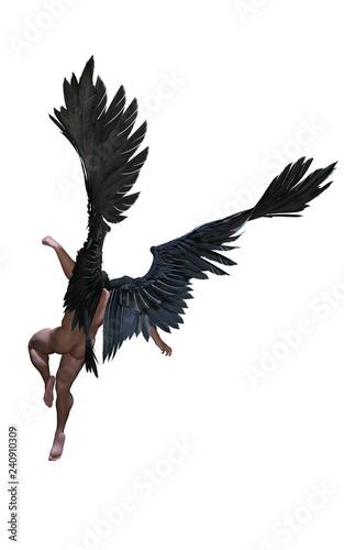 Naklejka premium 3d ilustracja skrzydła demona, upierzenie czarne skrzydło na białym tle na białym tle ze ścieżką przycinającą.