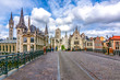 canvas print picture - Towers and architecture of medieval Gent, Belgium
