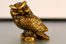 Gold Statuette Of An Owl Isola...