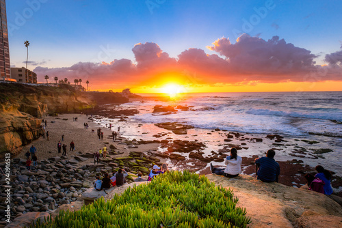 Tourists watching the beautifal sunset at La Jolla, San Diego, CA Canvas Print