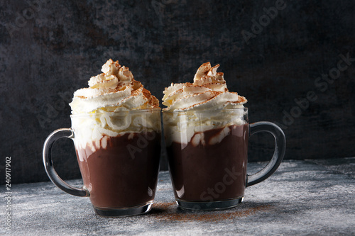 Hot chocolate cocoa with whipped cream for xmas on table