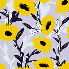 Seamless Vector Floral Pattern With Big Bold Flowers