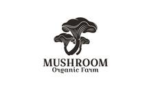 Vector Emblem Design Champignon Organic Farm. Mushroom Farm Logo Template Is An Excellent Logo Template Highly Suitable For Company - Vector