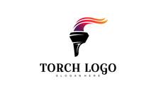 Torch Logo Design Template-vector