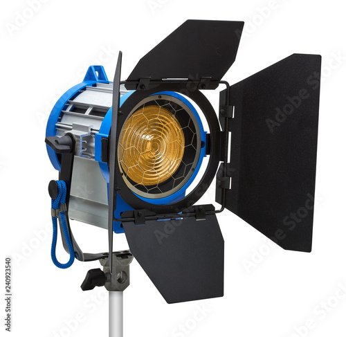 Tungsten Fresnel spotlight with barn doors isolated on white background includin Tablou Canvas