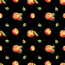 Watercolor Seamless Pattern With Mandarins And Leaves On Black Background