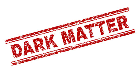 DARK MATTER seal print with distress texture. Red vector rubber print of DARK MATTER label with unclean texture. Text label is placed between double parallel lines.
