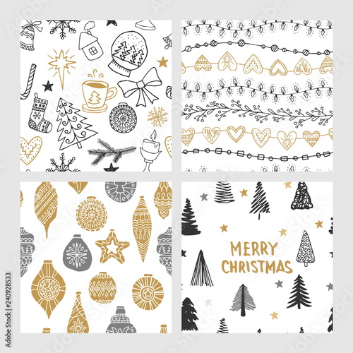 mata magnetyczna Beautiful seamless Christmas and winter patterns, drawn by hand. Many festive elements and patterns. Vector graphics and illustration.