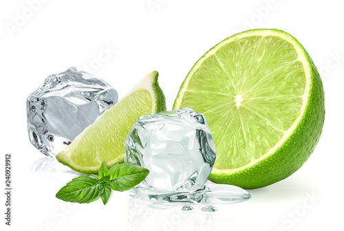 Fotografie, Obraz  Ice cubes with lime / ice cubes, lime and basil leaves isolated on white backgro