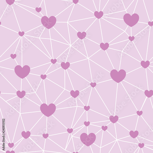 Fototapeta Pink Network Of Hearts Seamless Repeat Pattern Great For Valentines Day Or Wedding Invitations Cards Backgrounds Gifts Packaging