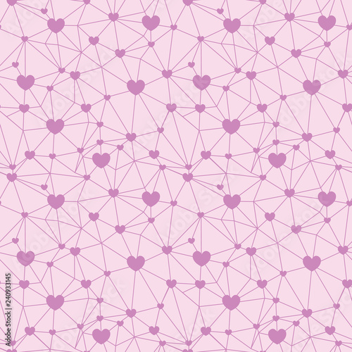Fototapeta Pastel Pink Web Of Hearts Seamless Repeat Pattern Great For Valentines Day Or Wedding Invitations Cards Backgrounds Gifts Packaging
