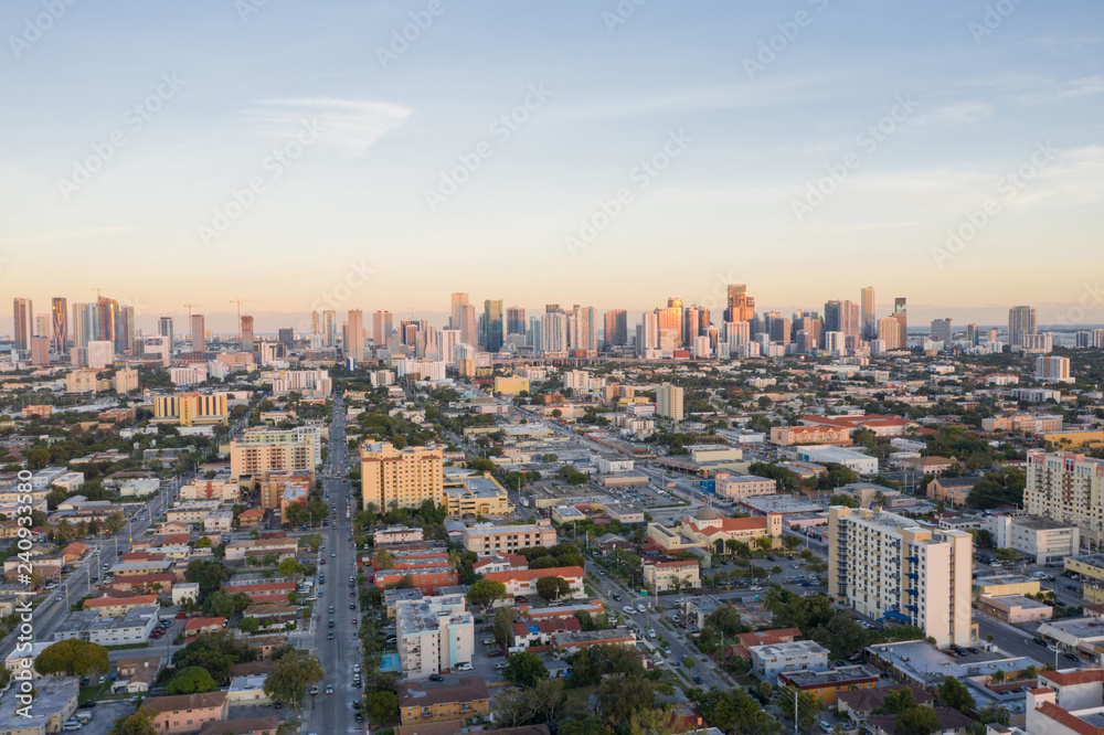 Fototapety, obrazy: Aerial west side of Downtown Miami Florida Little Havana