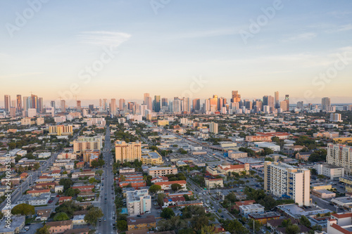 Aerial west side of Downtown Miami Florida Little Havana Wallpaper Mural