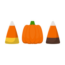 Colorful Halloween Candy - Halloween Candy Corn And Pumpkin Isolated On White Background