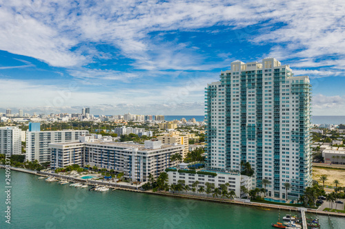 Fotografia, Obraz  Aerial image waterfront condominiums Miami Beach