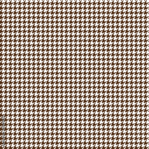 Houndstooth Seamless Pattern - Classic brown and white houndstooth texture Wallpaper Mural