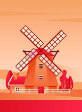 Windmill Poster Flat Vector Il...