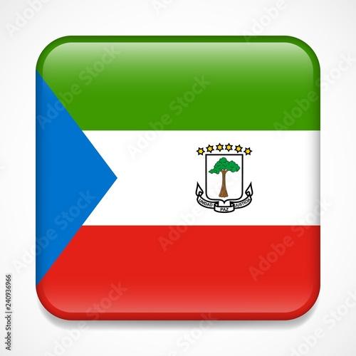 Fotografía  Flag of Equatorial Guinea. Square glossy badge