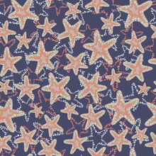 Seastar Starfish Pattern. Coral Brown Light Blue Sea Stars On A Dark Blue Background. Layered Style. Abstract Underwater Plants. Blue Beige Pink Ocean Themed Print. Seamless Pattern Background Tile