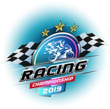 Vector Illustration, Racing Championship 2019 Symbol Or Logo Event.