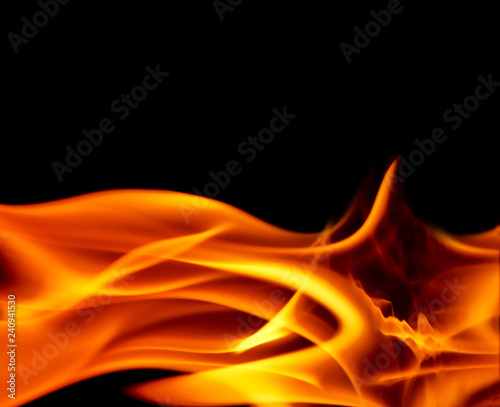 Canvas Print Fire flame isolated on black background