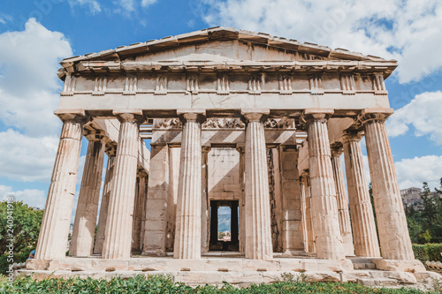 Temple of Hephaestus in Agora close-up, Athens, Greece Canvas Print