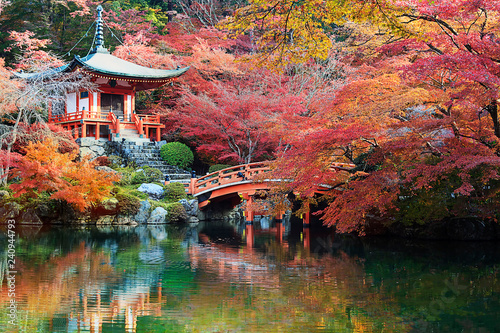 Foto op Canvas Japan Daigo-ji temple with colorful maple trees in autumn, Kyoto, Japan