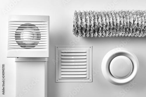 Obraz ventilation system components on white background top view - fototapety do salonu