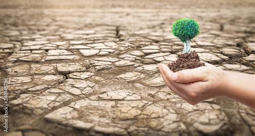Zdjęcie XXL Koncepcja ochrony środowiska: część ogromnej powierzchni suszonej ziemi cierpiącej z powodu suszy