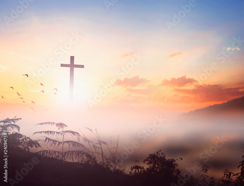 Christ Jesus concept: cross in the morning at sunrise Wall mural