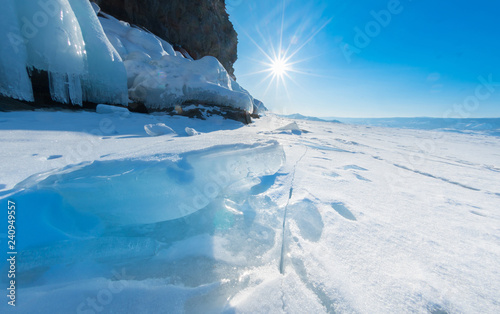 Poster Glaciers Lake Baikal is a frosty winter day
